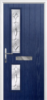 Twin Square Zinc/Brass Art Clarity Composite Front Door in Blue