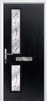 Twin Square Zinc/Brass Art Clarity Composite Front Door in Black