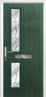Twin Square Zinc/Brass Art Clarity Composite Front Door in Green