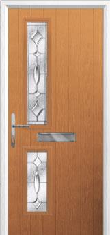 Twin Square Zinc/Brass Art Clarity Composite Front Door in Oak