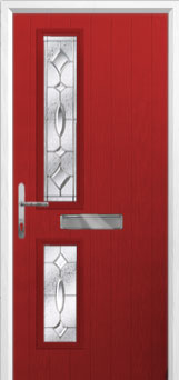 Twin Square Zinc/Brass Art Clarity Composite Front Door in Red