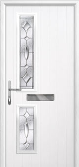 Twin Square Zinc/Brass Art Clarity Composite Front Door in White