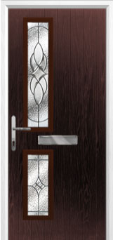 Twin Square Elegance Composite Front Door in Darkwood