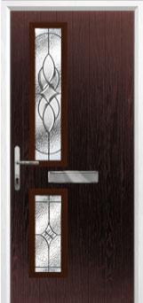 Twin Square Elegance Composite Front Door in Darkwood