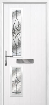 Twin Square Elegance Composite Front Door in White