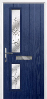 Twin Square Flair Composite Front Door in Blue