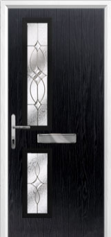 Twin Square Flair Composite Front Door in Black
