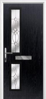Twin Square Flair Composite Front Door in Black