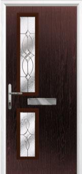 Twin Square Flair Composite Front Door in Darkwood