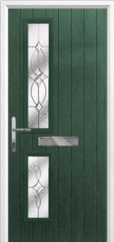 Twin Square Flair Composite Front Door in Green
