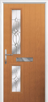 Twin Square Flair Composite Front Door in Oak