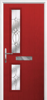 Twin Square Flair Composite Front Door in Red