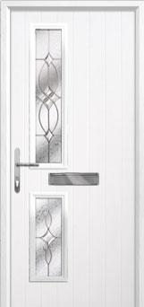 Twin Square Flair Composite Front Door in White