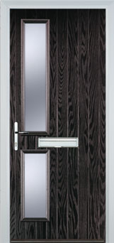Twin Square Glazed Composite FD30 Fire Door in Black Brown