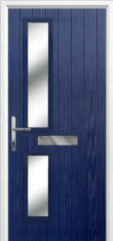 Twin Square Glazed Composite Front Door in Blue