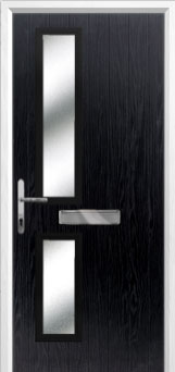 Twin Square Glazed Composite Front Door in Black