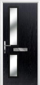 Twin Square Glazed Composite Front Door in Black