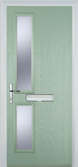 Twin Square Glazed Composite Fire Door in Chartwell Green