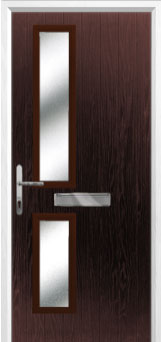 Twin Square Glazed Composite Front Door in Darkwood
