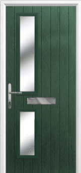 Twin Square Glazed Composite Front Door in Green
