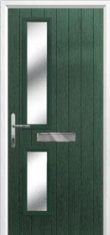 Twin Square Glazed Composite FD30 Fire Door in Green
