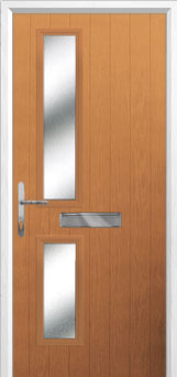 Twin Square Glazed Composite Front Door in Oak