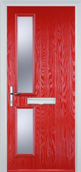 Twin Square Glazed Composite Fire Door in Poppy Red