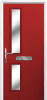 Twin Square Glazed Composite Front Door in Red