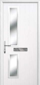Twin Square Glazed Composite Front Door in White