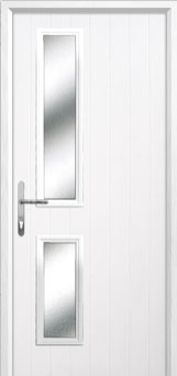 Twin Square Glazed Composite Back Door in White