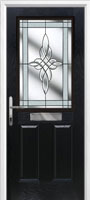 2 panel 1 square black front door