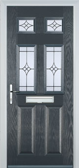 2 panel 4 square grey front door