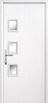 3 Square (off set) Glazed Composite Back Door in White