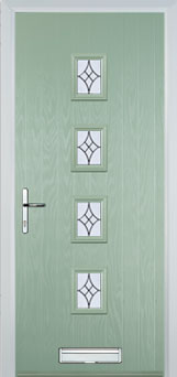 4 square green front door
