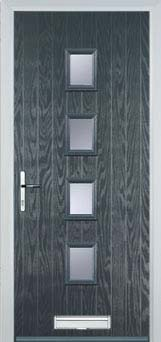 4 Square Modern Composite Door in Grey