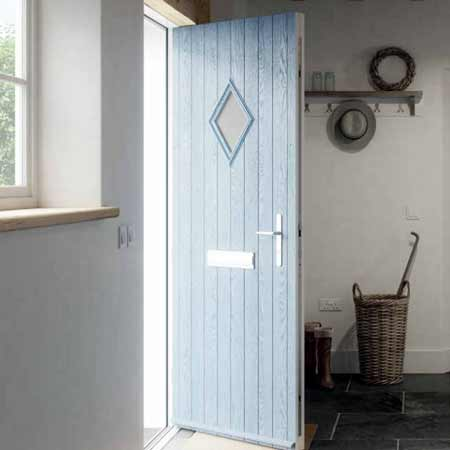 diamond composite door in duck egg blue