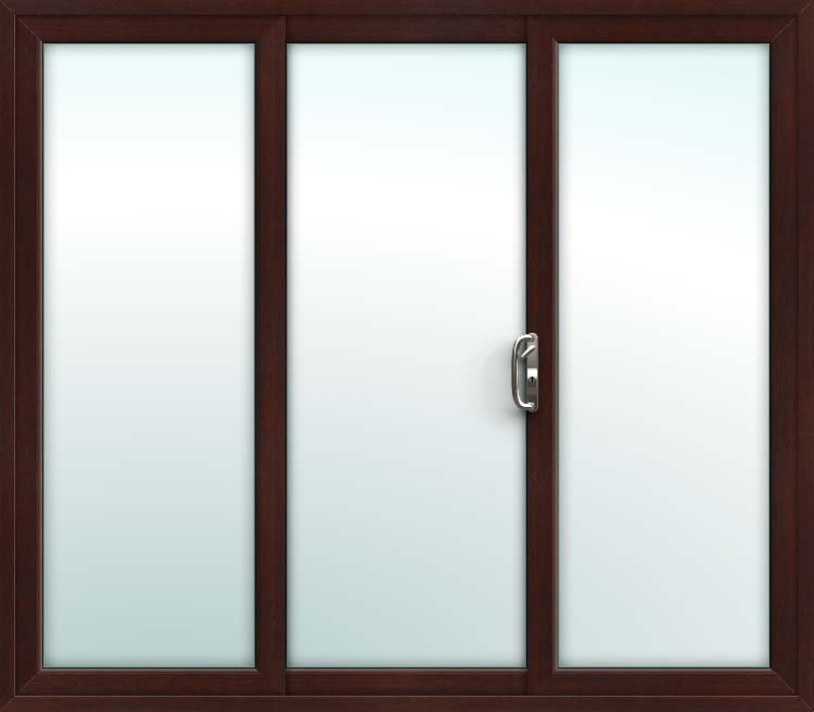 Rosewood 3 Pane Sliding Patio Doors