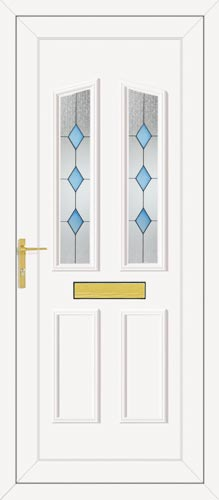 Clinton Two Blue Diamond UPVC Front Door