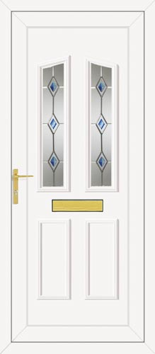 Clinton Two Blue Fusion Silver UPVC Front Door