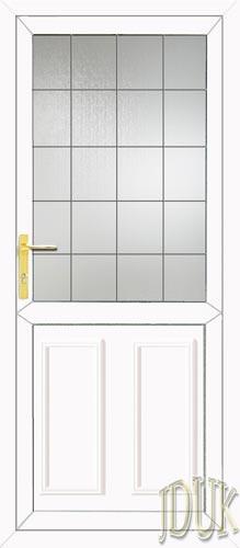 Clinton Half Panel Square Lead UPVC Back Door