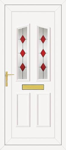 Clinton Two Red Diamond UPVC Front Door