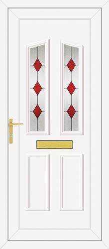 Clinton Two Red Diamond UPVC Front Door