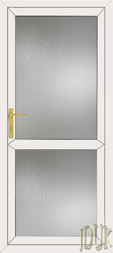 Full Glass with Mid Rail UPVC Back Door