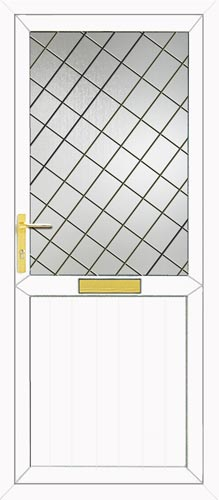 Groove Half Panel Diamond Lead UPVC Front Door