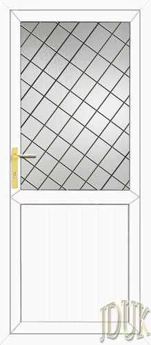 Groove Half Panel Diamond Lead UPVC Back Door