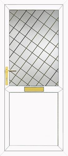Half Glazed Flat Panel Diamond Lead UPVC Front Door