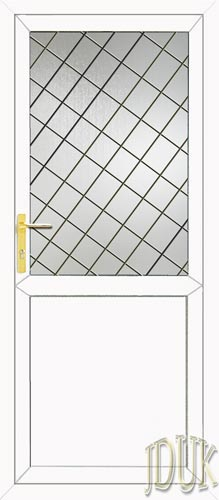 Half Glazed Flat Panel (2xG Style) Diamond Lead UPVC Back Door