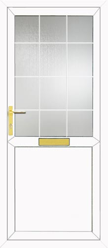 Half Glazed Flat Panel Georgian Bar UPVC Front Door