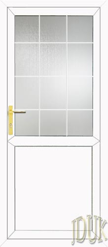 Half Glazed Flat Panel (2xG Style) Georgian Bar UPVC Cottage Door