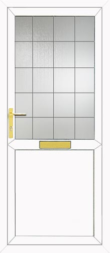 Half Glazed Flat Panel Square Lead UPVC Front Door
